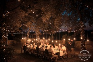 Ashleigh and Tyler seated meal, fairy lights, long table