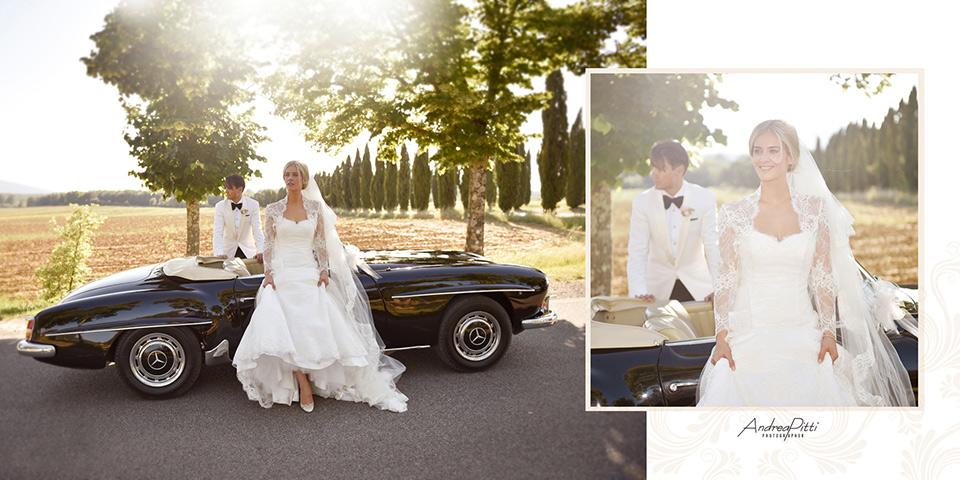 Charlotte and Karim classic car