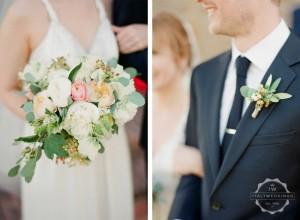 eucaliptus and peony bouquet