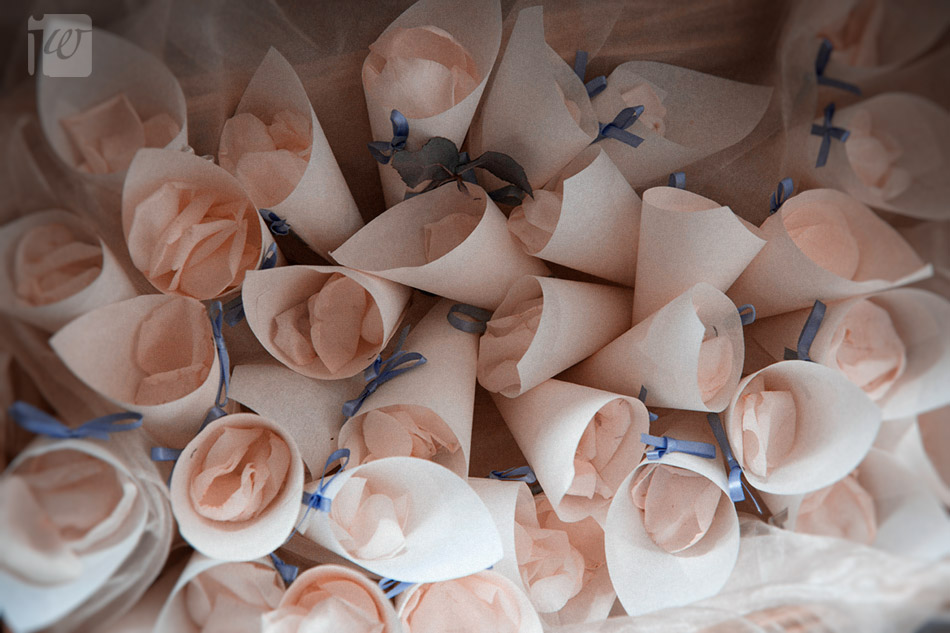 Villa wedding petal cones