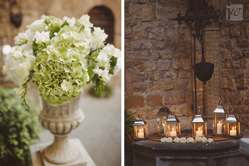 Vincigliata wedding Florence courtyard lanterns hydrangeas