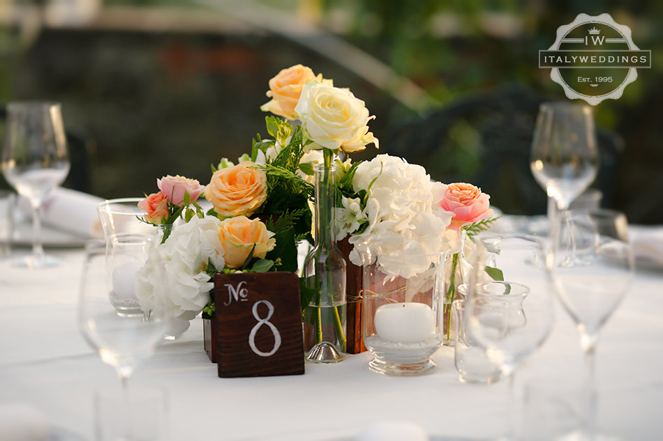 wooden centerpiece bottles