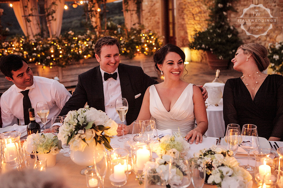 formal wedding meal outside