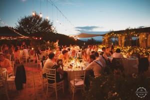 Tuscany villa evening meal outside