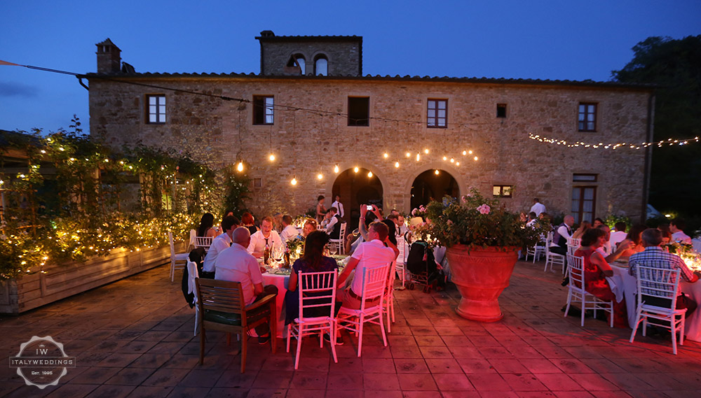 Tuscany villa evening meal outside