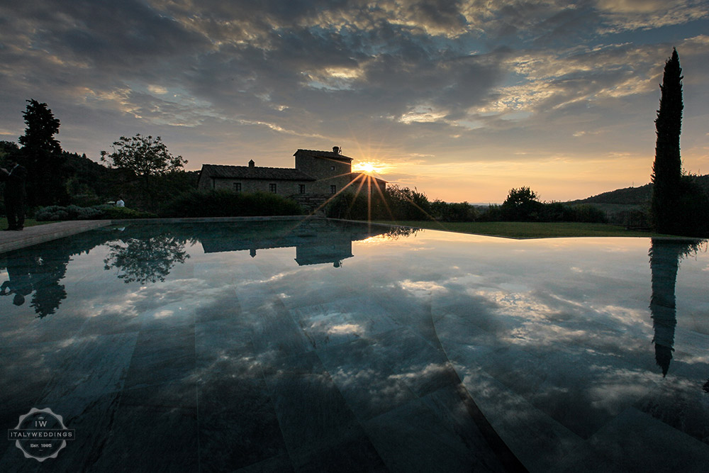Tuscany villa evening pool