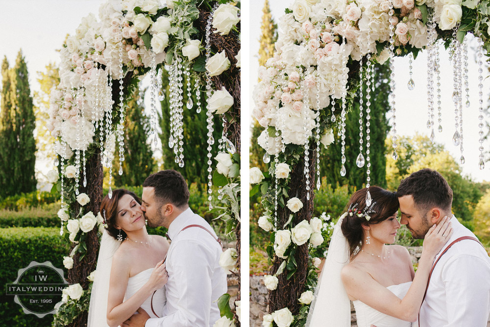 Umbria wedding floral arch
