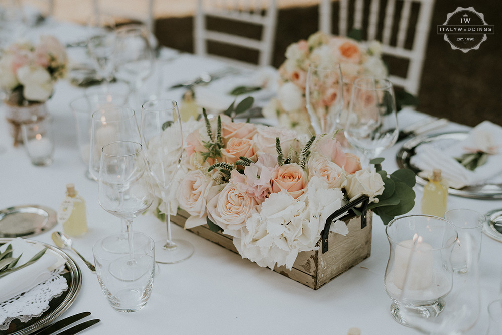 Villa wedding Tuscany pink and white boxed composition