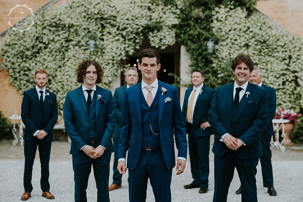 Villa wedding Tuscany Navy groomsmen