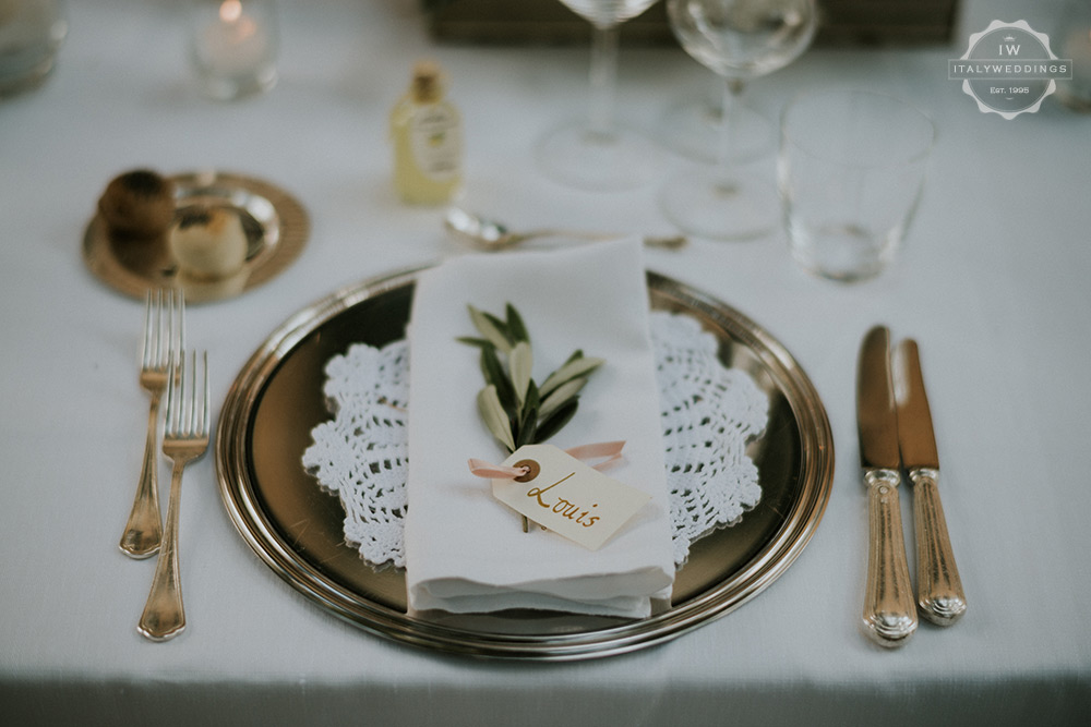 Villa wedding Tuscany olive and silver place setting