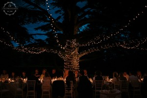 Villa wedding Tuscany fairy lights on tree