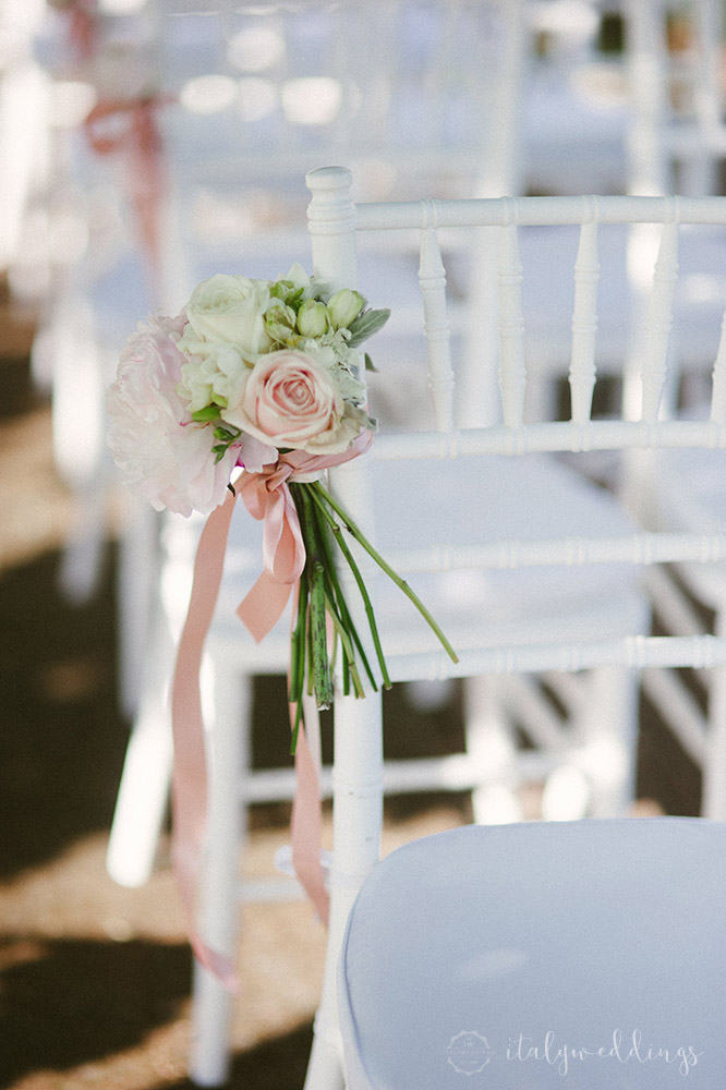 Tuscan wedding ceremony chair decoration