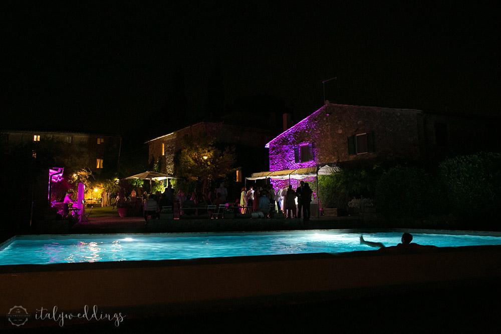 Siena Stomennano wedding pool lighting