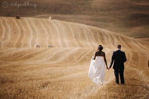 Tuscany wedding cornfields