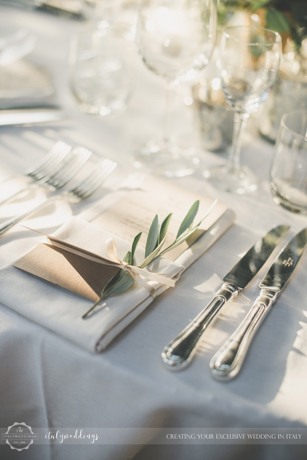 Country civil wedding Siena olive place setting