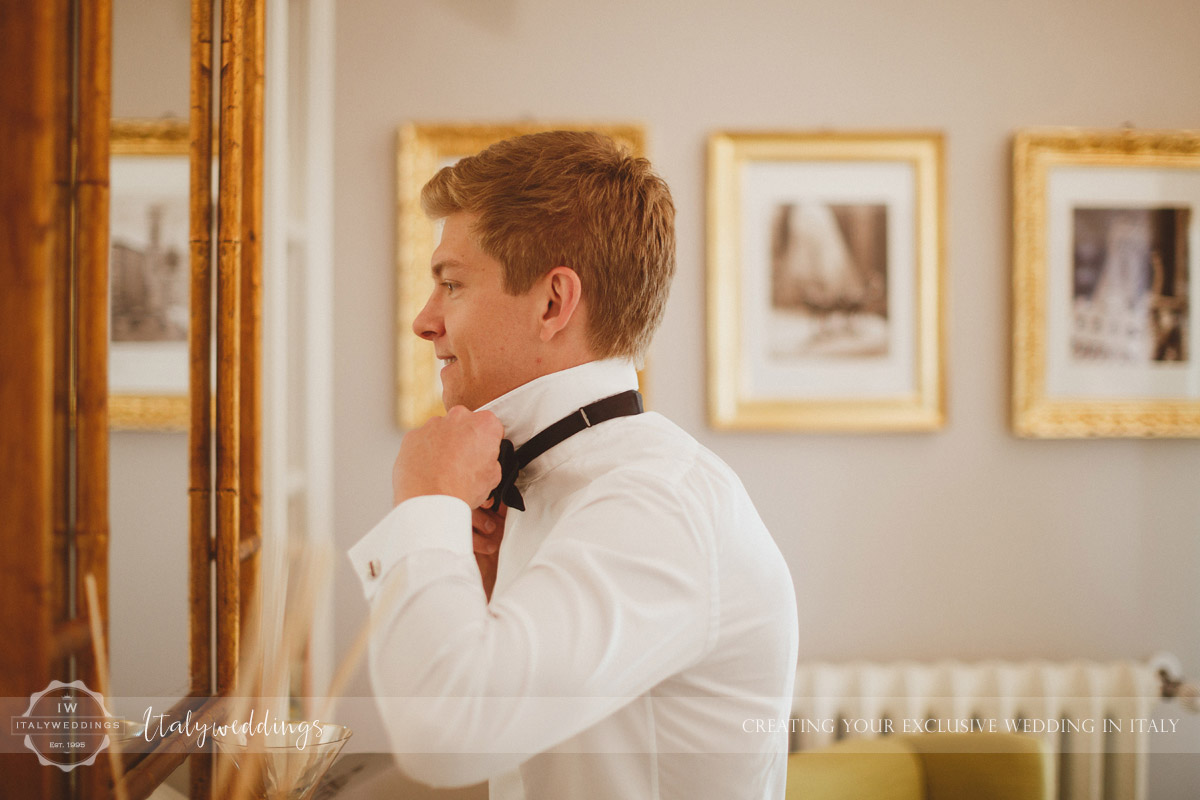 Florence wedding groom getting ready