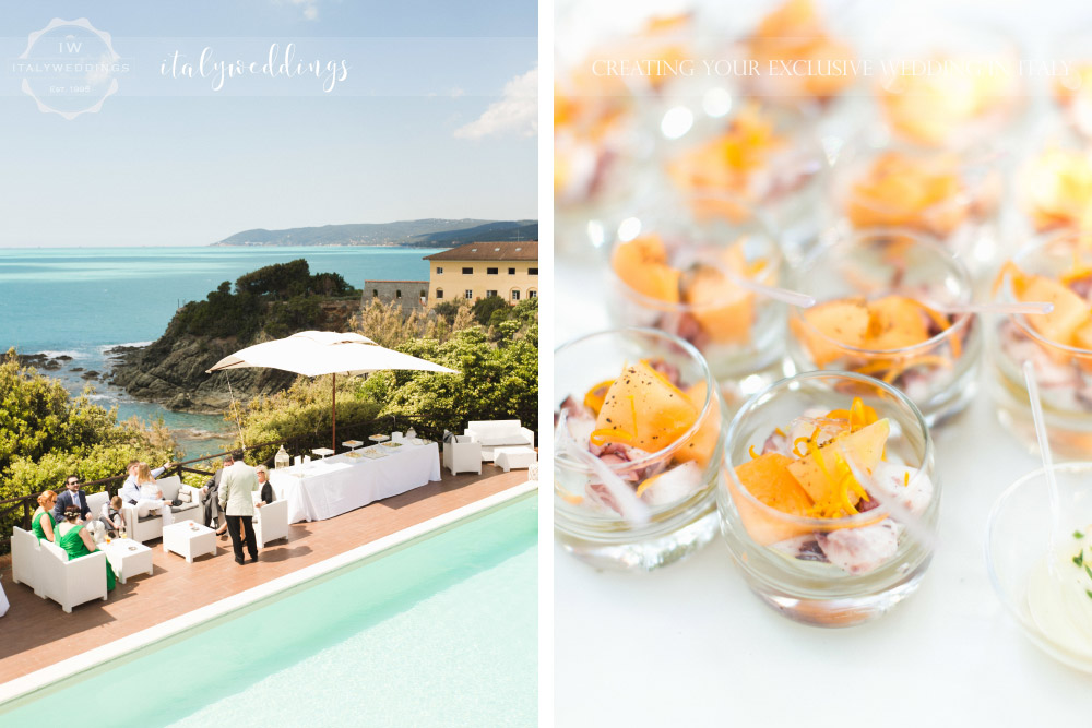 Tuscan coastal wedding, aperitifs