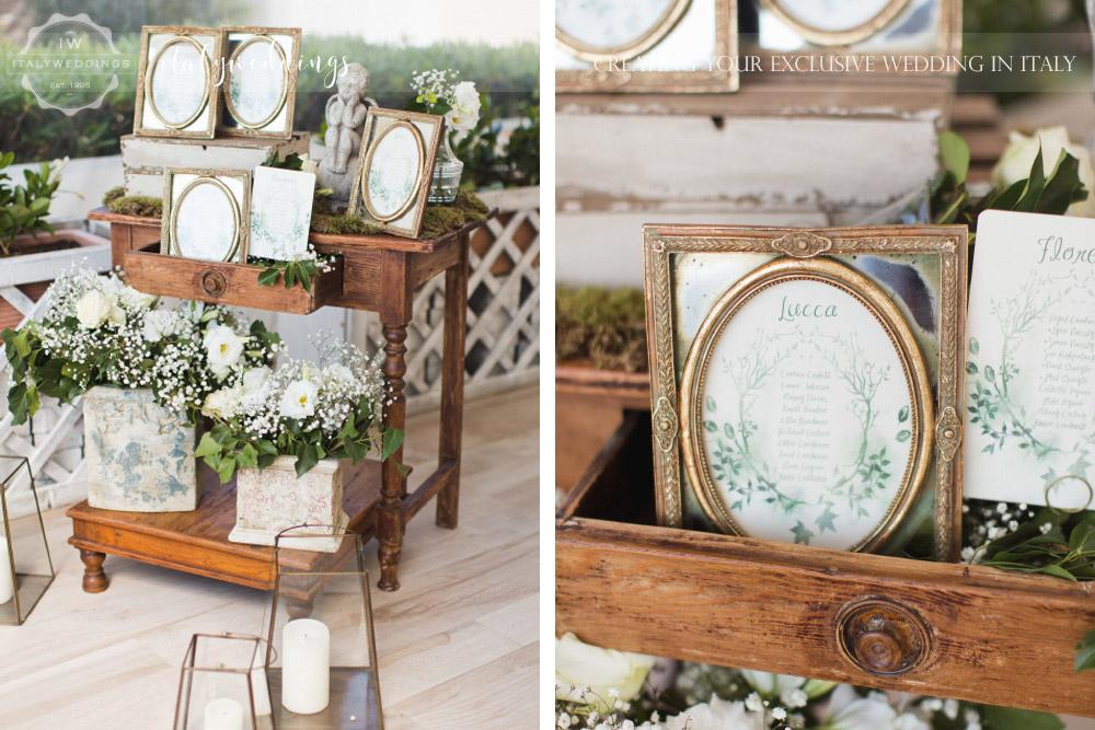 Tuscan coastal wedding, table map frames