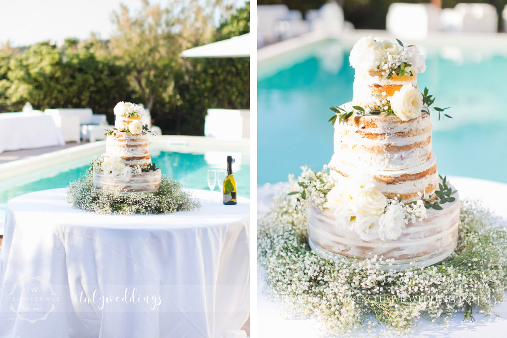 Tuscan coastal wedding, naked cake