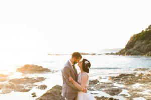 Tuscan coastal wedding, bridal couple