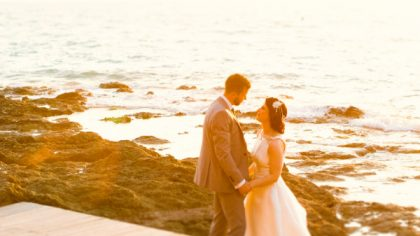 Tuscan coastal wedding, bridal couple