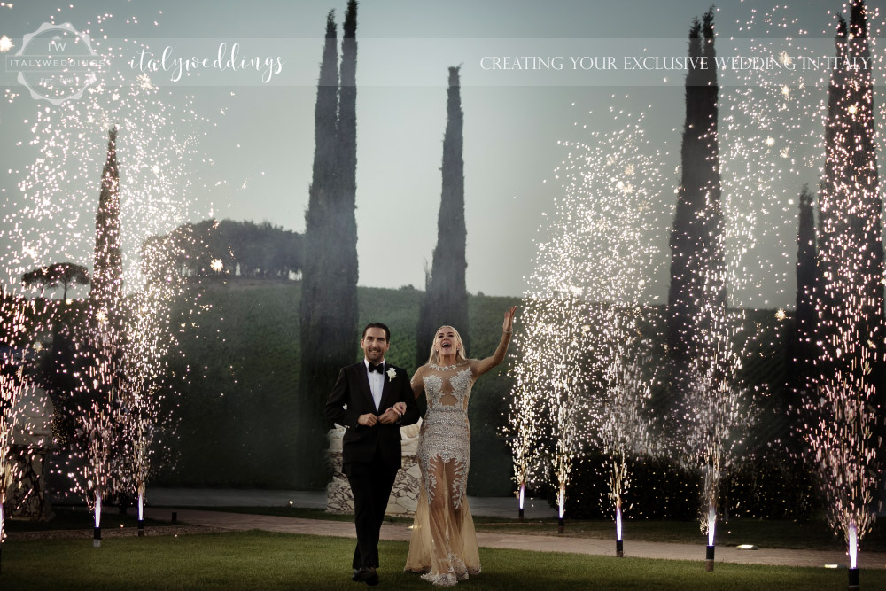 Italy wedding firework arrival