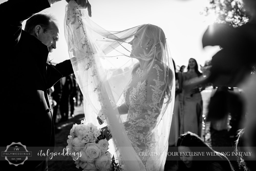 Italy wedding bridal veil