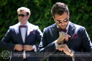 Vincigliata wedding groom preparations