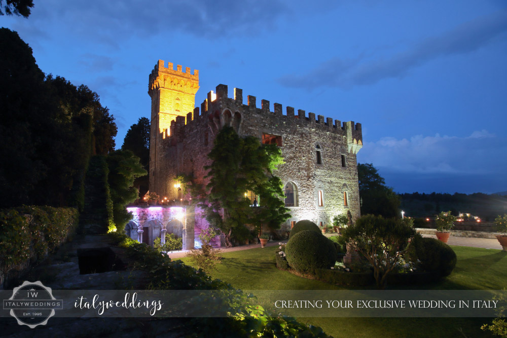Castello di Vincigliata evening lighting gardens