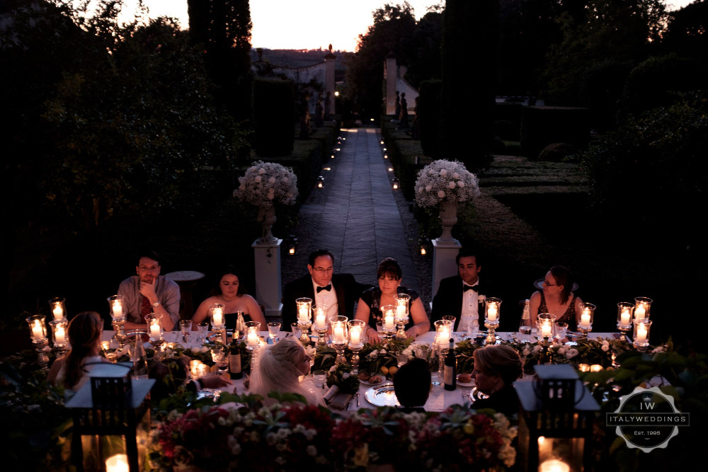 Wedding villa Piazzole Florence evening meal
