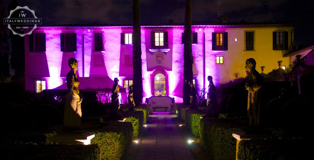Wedding villa Piazzole Florence facade lighting