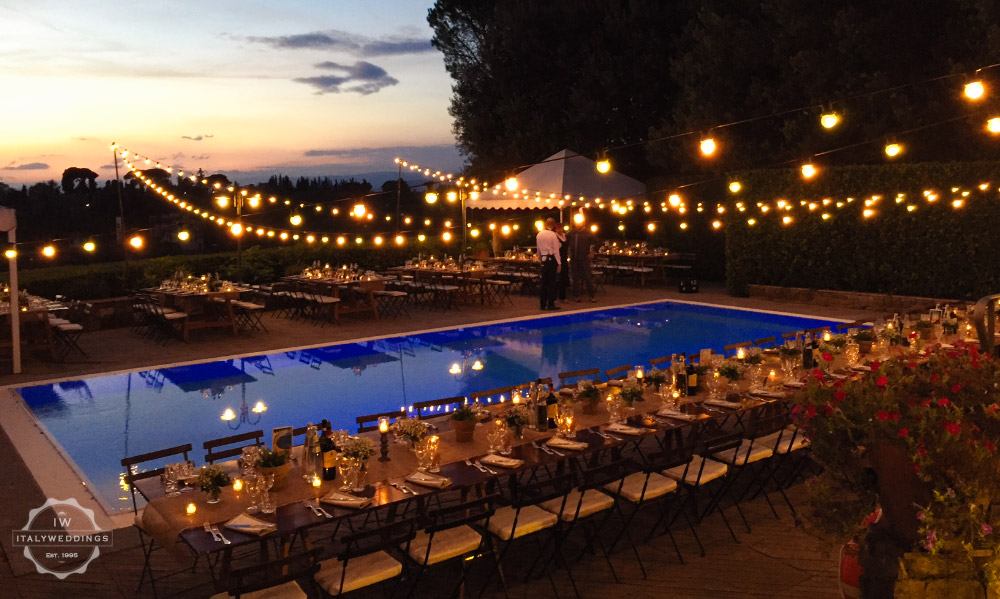 Wedding villa Piazzole Florence pool lighting