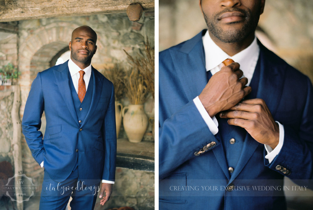 Stylish wedding Pienza Val D'Orcia grooms style