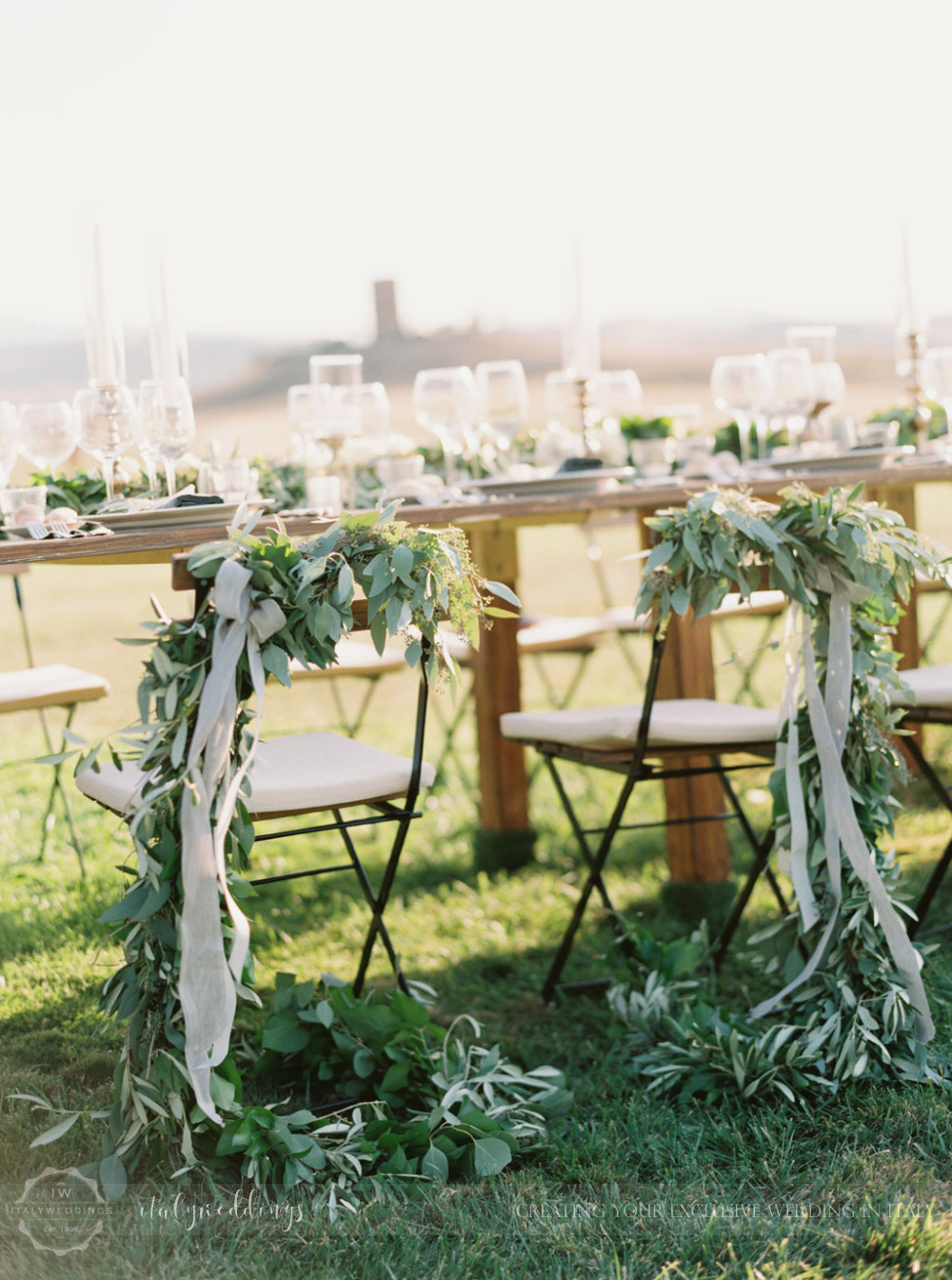 Stylish wedding Pienza Val D'Orcia mise en place