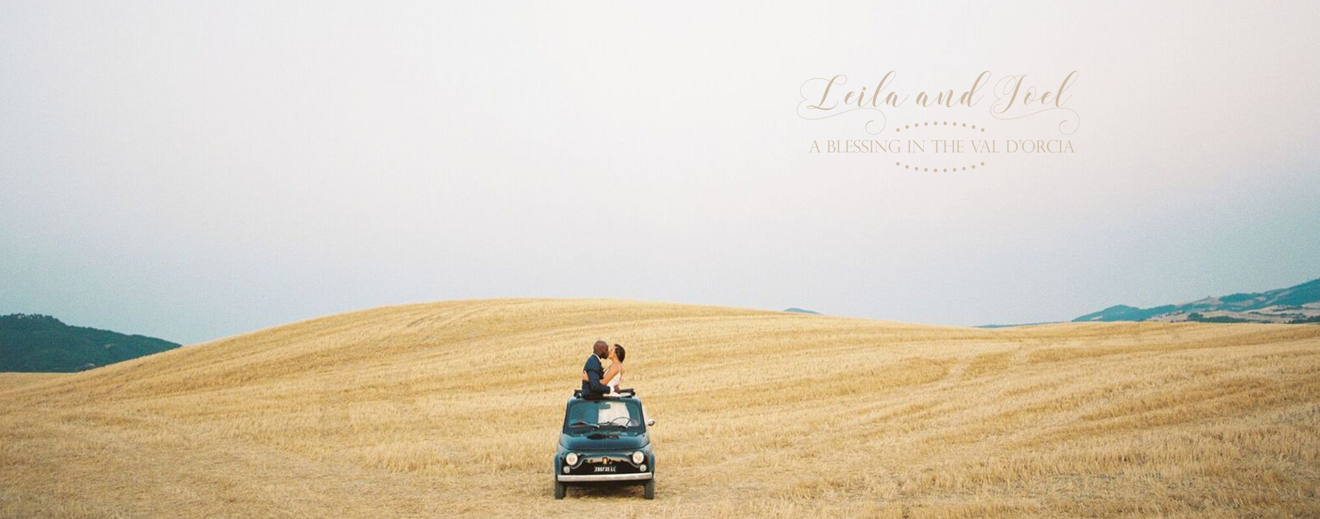 Stylish wedding Pienza Val D'Orcia fiat 500