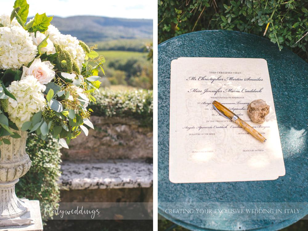 Symbolic blessing at Borgo Stomennano Tuscany ceremony