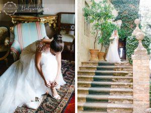 Symbolic blessing at Borgo Stomennano Tuscany the bride