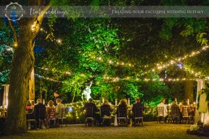 Symbolic blessing at Borgo Stomennano meal fairy lights
