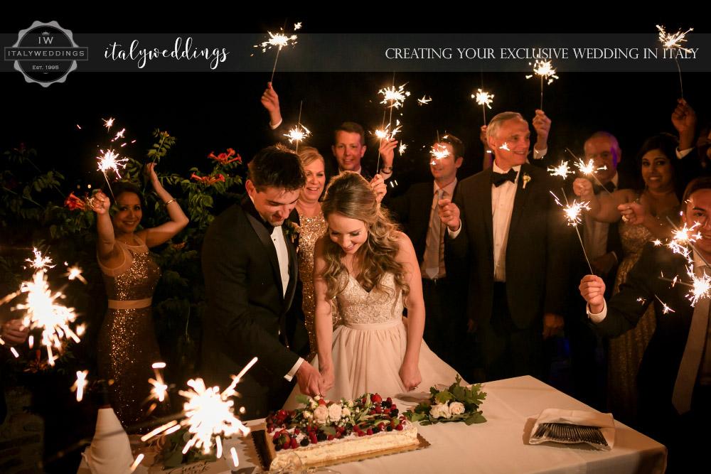 Wedding blessing Tuscany Italy Sparklers