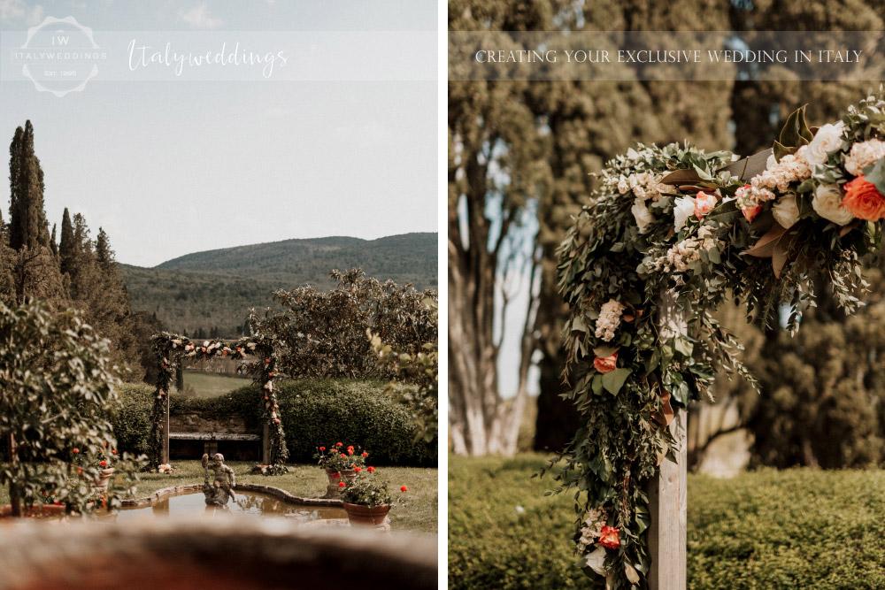 Stomennano wedding Tuscany floral arch