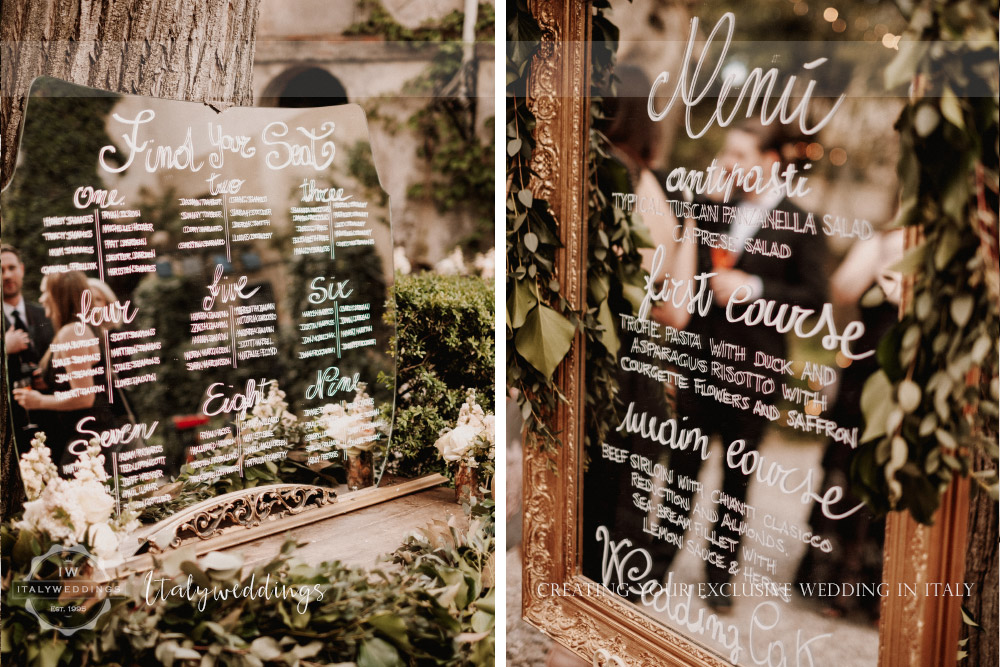Stomennano wedding Tuscany mirror table map