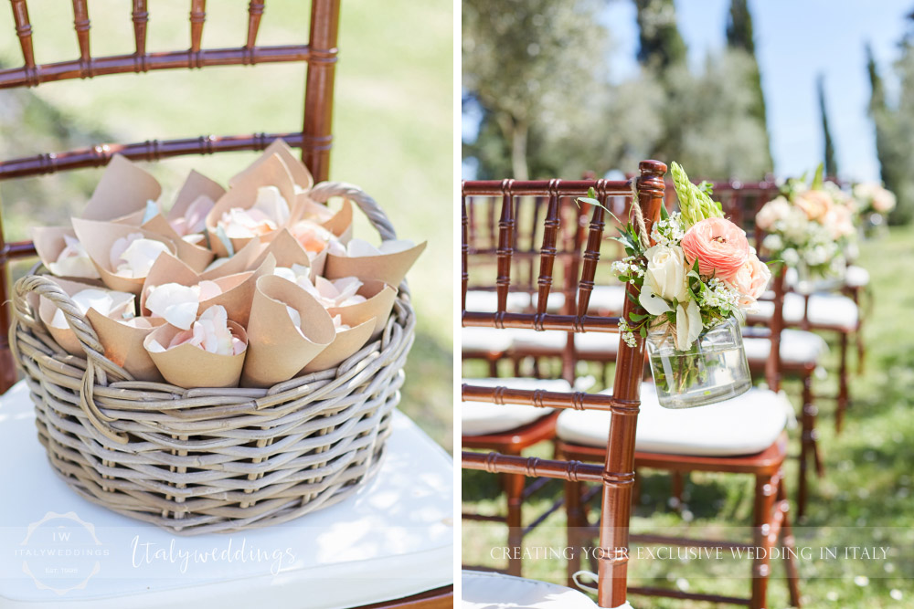Wedding Bastia Creti Umbria ceremony set-up