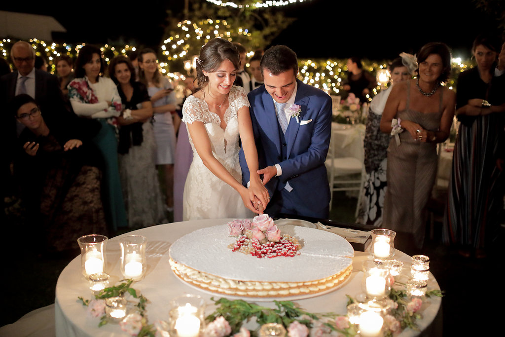 Luxury wedding blessing with secret garden lighting Tuscany