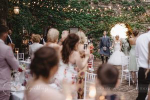 Civil wedding Montone reception Borgo Umbria fairy-light lighting