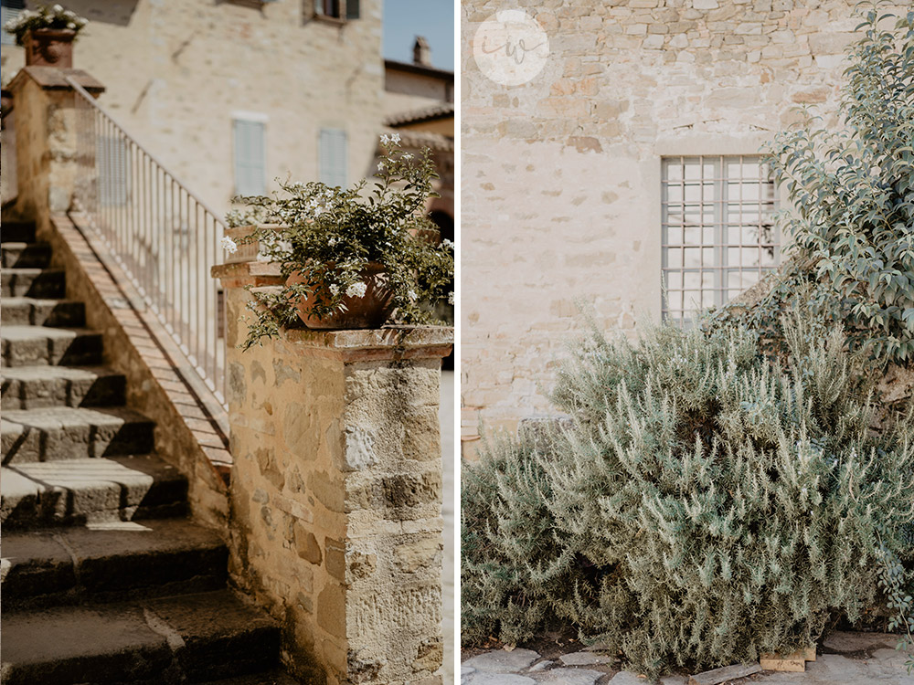 Boho blessing in Umbria Italy white and green details