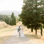 A civil wedding Certaldo Tuscany and villa reception cypress tree row