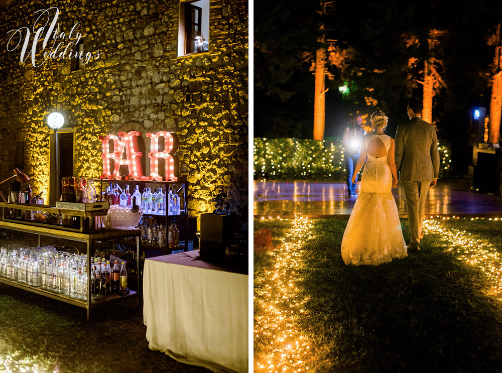A civil wedding Certaldo Tuscany and villa reception fary-light pathway