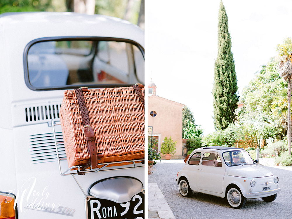 Dreamy vllla blessing in Tuscany Fiat 500