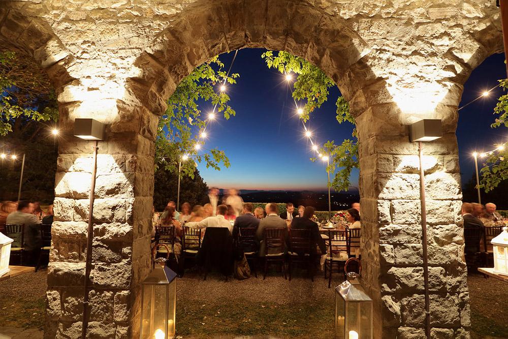 Chianti, Tuscany wedding villa converted village meal area