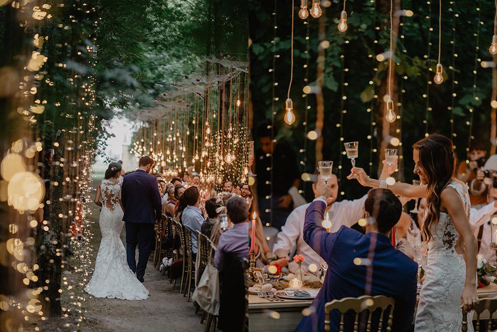 Convent wedding venue Garda lighting